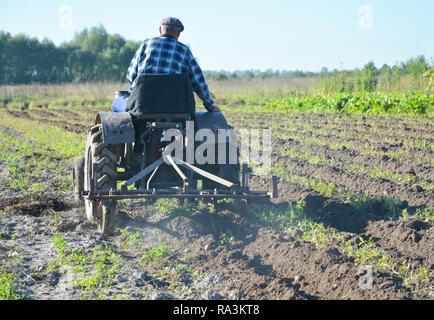 Landwirt Traktor im Feld. Bauer auf alten handgemachten Traktor Pflügen in das Feld ein. - Stockfoto