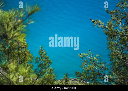 Schöne sonnige Natur Hintergrund mit frischen grünen Pinien im Vordergrund und blurry weichen ruhigen Meer Wasser im Hintergrund. Horizontale Farbe Fotografie - Stockfoto