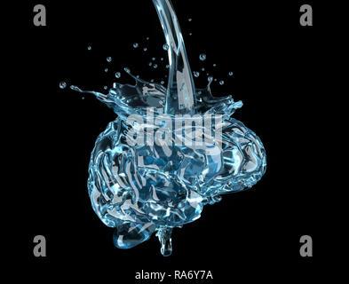 Das Gehirn wird mit Wasser gefüllt. 3D-Darstellung - Stockfoto
