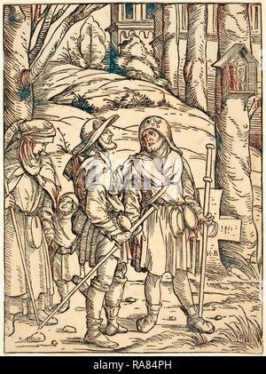 Hans Burgkmair I (Deutsch, 1473-1531), Pilger an einem Bildstock, 1508, Holzschnitt in Schwarz auf Bütten neuerfundene - Stockfoto