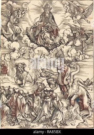 Albrecht Dürer (1471 - 1528), Das Tier mit zwei Hörnern wie ein Lamm, wahrscheinlich C. 1496-1498, Holzschnitt auf Neuerfundene - Stockfoto