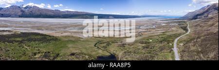Mount Cook Straße drone Aereo, Neuseeland, Südinsel, Neuseeland - Stockfoto