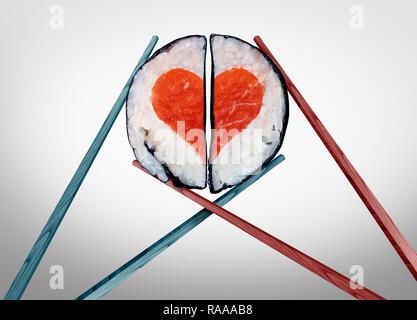 Valentine Dinner für Zwei als Saint valentines Feier der Liebe mit der Nahrung als Essstäbchen zusammen kommen, als ein romantisches Paar mit Sushi. - Stockfoto