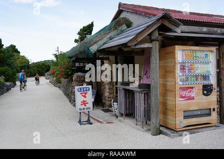 Mutter und Sohn Erkundung traditionellen Dorf Taketomi beim Reiten Fahrräder auf Straßen mit Hibiskus Insel in Okinawa, Japan abgedeckt - Stockfoto