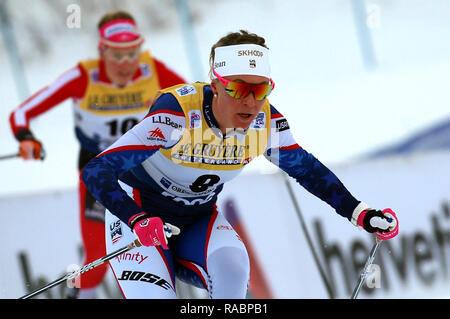 Oberstdorf, Deutschland. 03 Jan, 2019. Ski Nordisch/Langlauf: Wm, Tour de Ski, 10 m Freistil, Damen. Sadie Bjornsen aus den USA in Aktion. Foto: Karl-Josef Hildenbrand/dpa/Alamy leben Nachrichten - Stockfoto