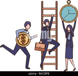 Gruppe von Unternehmen, die mit Symbolen - Stockfoto