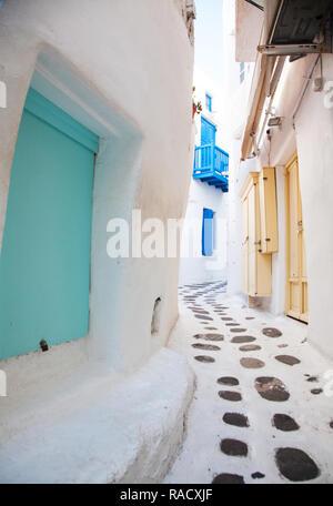 Straßen von Mykonos, Kykladen, griechische Inseln, Griechenland, Europa - Stockfoto