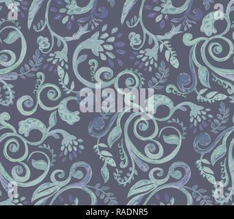1deaec986026a2 ... Dunkelgrün florale Muster auf blauem Hintergrund. Hand Made Aquarell  nahtlose Textur für Kleidung, Stoff