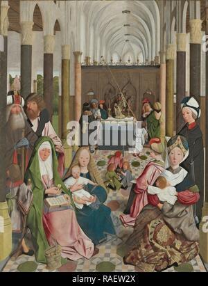 Die Heilige Sippe, Workshop: Geertgen Tot Sint Jans, C. 149. Neuerfundene durch Gibon. Klassische Kunst mit einem modernen Touch neuerfundene - Stockfoto