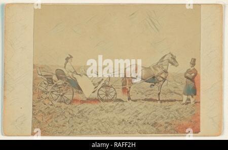 Frau in einem Pferd sitzt mit der Kutsche, Mann in Top hat, stehen, George S. Critcherson (American, 1823 - 1892 überarbeitet - Stockfoto