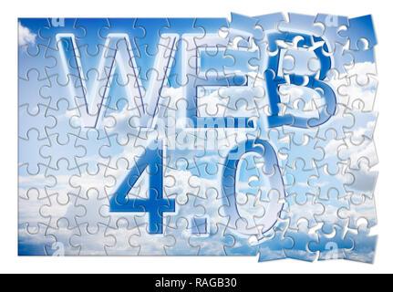 WEB 4.0-Konzept Bild im Puzzle Form - Stockfoto