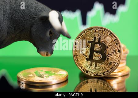 Hausse in Bitcoin crypto Währung. Bullish preis Trend und Wertsteigerung - Stockfoto