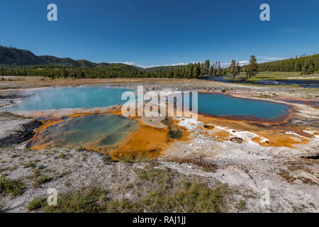 Bunte Hot Springs in Biscuit Basin im Yellowstone National Park, Wyoming, USA - Stockfoto