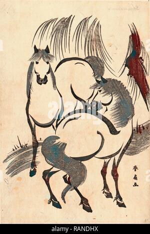 Ryuka kein Uma, Pferde unter einem Willow Tree. [Zwischen 1804 und 1818], 1 Drucken: Holzschnitt, 34,5 X 23,2, Drucken zeigt zwei Neuerfundene - Stockfoto
