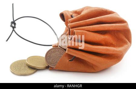 Leder Tasche mit Münze Dänische Krone - Stockfoto