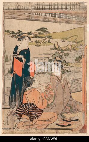 Yokyu, Bogenschießen. [Zwischen 1787 und 1790], 1 Drucken: Holzschnitt, Farbe, 37,6 X 24,1, Drucken zeigt drei Frauen amüsant Neuerfundene - Stockfoto