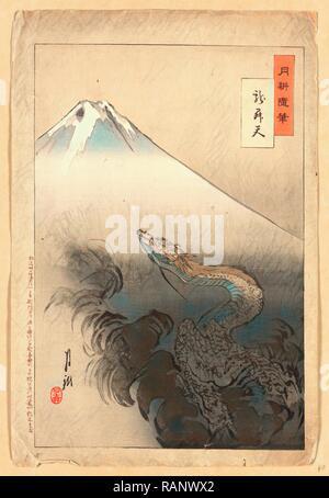 Ryu Shoten, Dragon Rising in den Himmel. 1897., 1 Drucken: Holzschnitt, Farbe, 37,5 X 24,7, Drucken zeigt eine Schlange oder Neuerfundene - Stockfoto