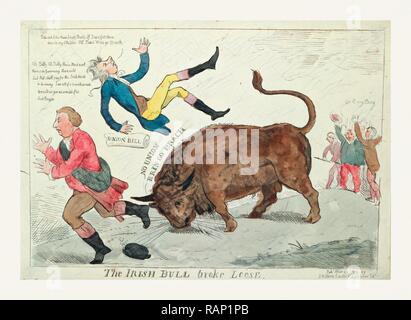 Die irische Bulle brach, Cruikshank, Isaac, 1756?-1811?, Gravur 1799, die Irische Bull werfen William Pitt in Neuerfundene - Stockfoto