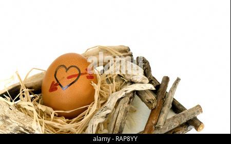 Herzform auf Eier Foto - Stockfoto