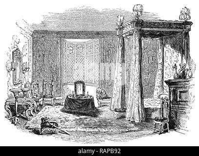 16. Jahrhundert: König James I Schlafzimmer bei Knowle House in der Nähe von Sevenoaks, Kent, England. - Stockfoto