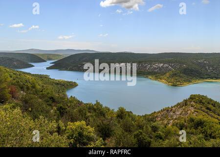 Insel Visovac Kloster in den Nationalpark Krka, Kroatien - Stockfoto