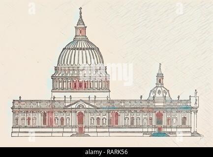 Sir Christopher Wren's First Design St. Paul's, London, England, Kupferstich aus dem 19. Jahrhundert, Großbritannien, Großbritannien. Neuerfundene - Stockfoto