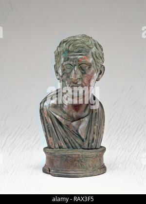 Portraitbüste von Menander, Unbekannt, 1 - 25, Bronze, Objekt: H: 17 x D (von Basis): 8 - 8,1 cm (6 11/16 x 3 1/8 - 3 3/16 Neuerfundene - Stockfoto