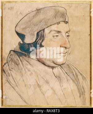 Portrait eines Gelehrten oder Kleriker, Hans Holbein der Jüngere, Deutsche, 1497/1498-1543, 1532-1535, rote und schwarze Kreide neuerfundene - Stockfoto