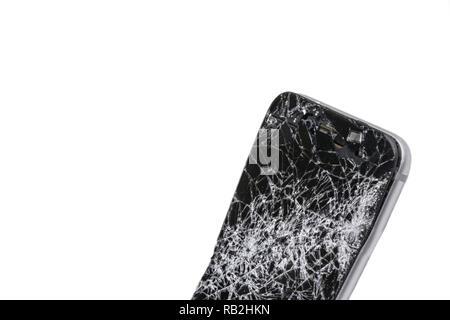 display gebrochen zerbrochenes glas auf einem smartphone iphone 6 plus stockfoto bild. Black Bedroom Furniture Sets. Home Design Ideas