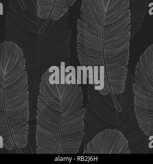Schwarz und Weiß sich überlappende Federn Muster Zeichnung - Stockfoto