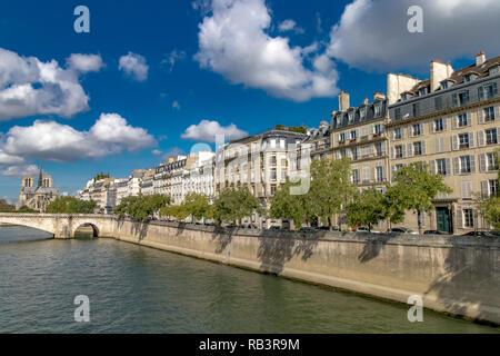 Apartment Gebäude mit weißen Fensterläden aus Holz mit Blick auf den Fluss Seine auf der Île Saint-Louis, mit der Kathedrale Notre-Dame in der Ferne in Paris - Stockfoto