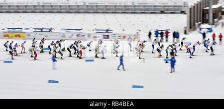 In Mähren, Tschechien. 06 Jan, 2019. Die Männer 20 km Massenstart Rennen innerhalb der OPA Langlauf Europacup 2019 in Nové Město na Moravě, Tschechische Republik, am 6. Januar 2019. (CTK Photo/Lubos Pavlicek) Quelle: CTK/Alamy leben Nachrichten - Stockfoto