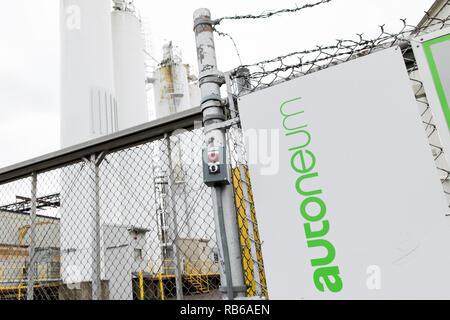Ein logo Zeichen außerhalb einer Anlage von Autoneum in Bloomsburg, Pennsylvania besetzt, am 30. Dezember 2018. - Stockfoto
