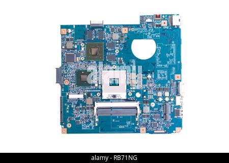 Motherboard-Computer isoliert auf weißem Hintergrund - Stockfoto