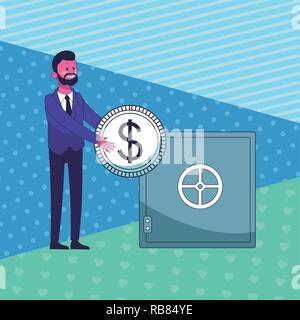Business Geld sparen Cartoon - Stockfoto
