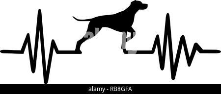 Heartbeat Puls mit Deutsch Kurzhaar Pointer Hund Silhouette - Stockfoto