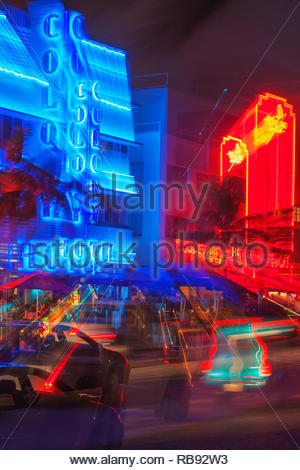 Hotels am Ocean Drive, South Beach, Miami, Florida, Vereinigte Staaten von Amerika, - Stockfoto