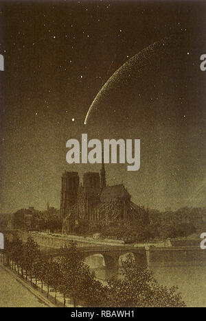 Donati Comet über Notre-Dame. - Stockfoto