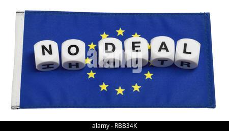Die Worte Kein Deal auf einer Fahne der Europäischen Union buchstabiert - Stockfoto