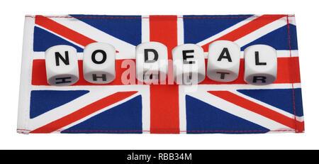 Die Worte, die kein Abkommen mit einem Union Jack Flagge geschrieben - Stockfoto