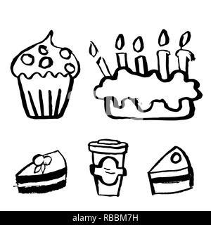 Kuchen Mit Einer Brennenden Kerze Tinte Schwarz Weiss Zeichnung