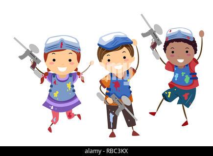 Abbildung: Stickman Kinder tragen, Maske und Weste mit Gewehren nach dem Spielen Paintball - Stockfoto
