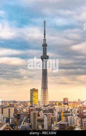 Tokio Skytree bei Sonnenuntergang, Sumida, Tokio, Region Kanto, Japan. - Stockfoto