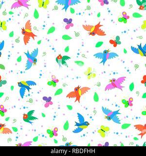 Bunt süß Lustig cartoon Vögel und Schmetterlinge nahtlose Sommer Muster - Stockfoto