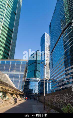 Moskau, Russland - 17. Oktober 2018: Fußgängerzone Moskau - Stadt (Moskau International Business Center). - Stockfoto