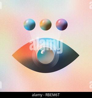 Digitale Illustration des menschlichen Auge Farbe Änderung und futuristische Vision. Mit Vector lebendige Farbverlauf Geometrie bilden. - Stockfoto