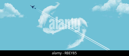 Die Kosten für eine Flugreise ist mit Wolken in der Form eines Dollar Zeichen und einem Jet Airliner mit Kondensstreifen in einem blauen Himmel dargestellt. Dies ist ein illustrati - Stockfoto