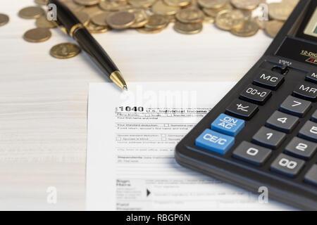 US 1040 Steuerformular. Veranlagungszeitraums. Zahlung der Steuer Konzept. - Stockfoto