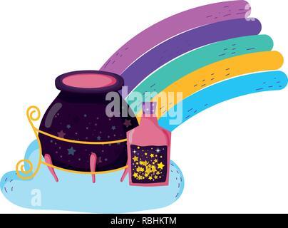 Magie Hexe hat mit trank Flaschen in Rainbow - Stockfoto