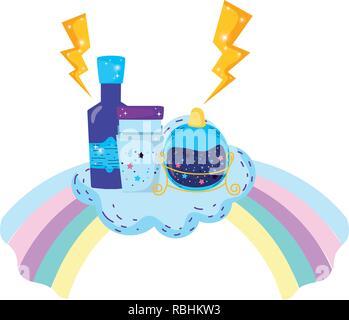 Zaubertrank Flaschen mit Glas in Rainbow - Stockfoto